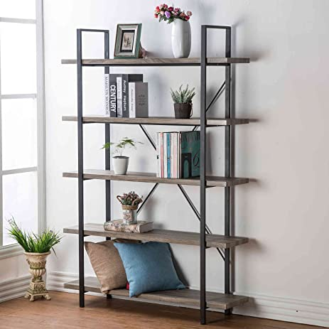 HSH Furniture 5-Shelf Vintage Industrial Bookcase, Wood and Metal Rustic  Open Bookshelf,