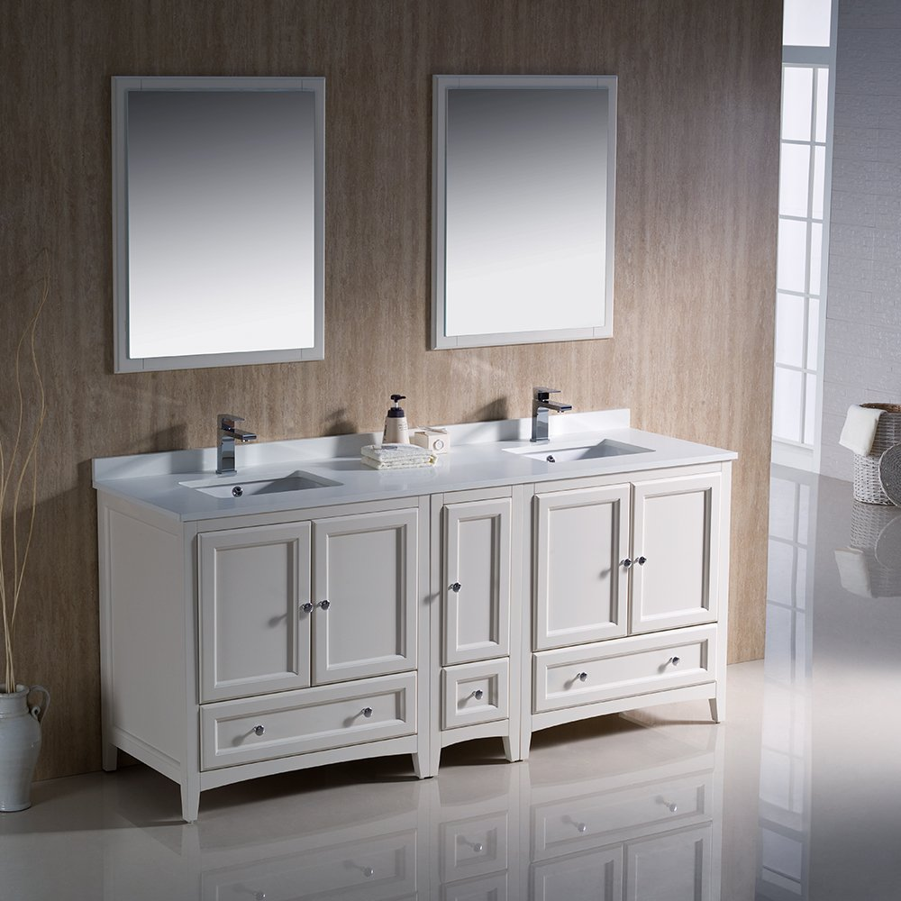 Fresca Bath FVN20-301230AW Oxford 72'' Double Sink Vanity with Side Cabinet, Antique White