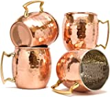 TeraShopee ® Copper Mug for Moscow Mules 560 ML / 18 oz - Set of 4, Inside Nickle Hammered Best Quality