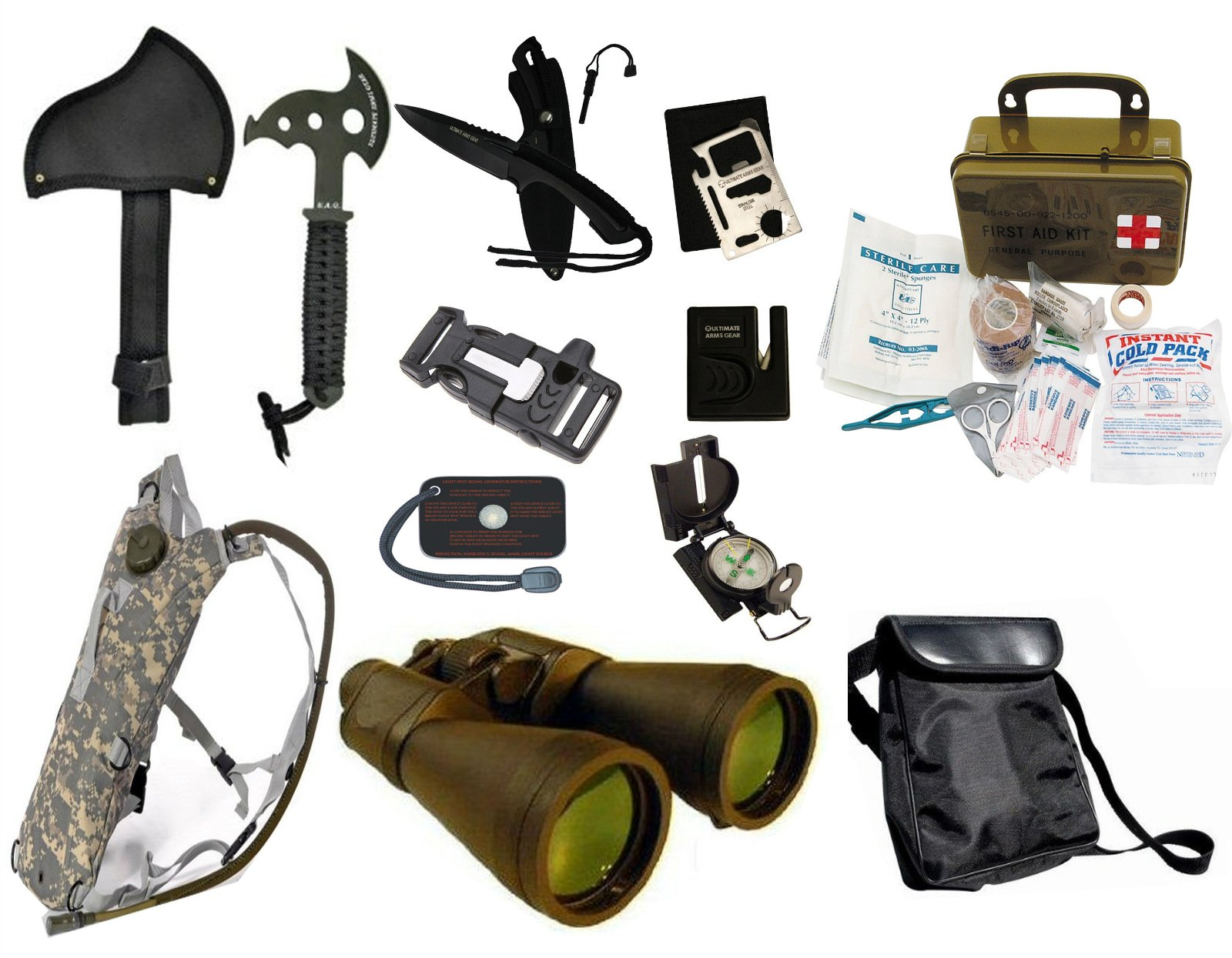 Survival Camping Hiking 20X70 Binoculars Green,Emergency First Aid Kit, Sharpener, Axe, Fire Blade, Whistle Flint Striker Belt Buckle, ACU Hydration Backpack, Multi Tool, Compass, Signal Mirror