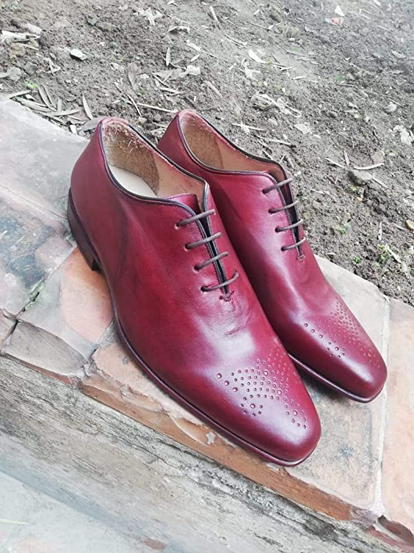 Burgundy leather lace up dress shoes
