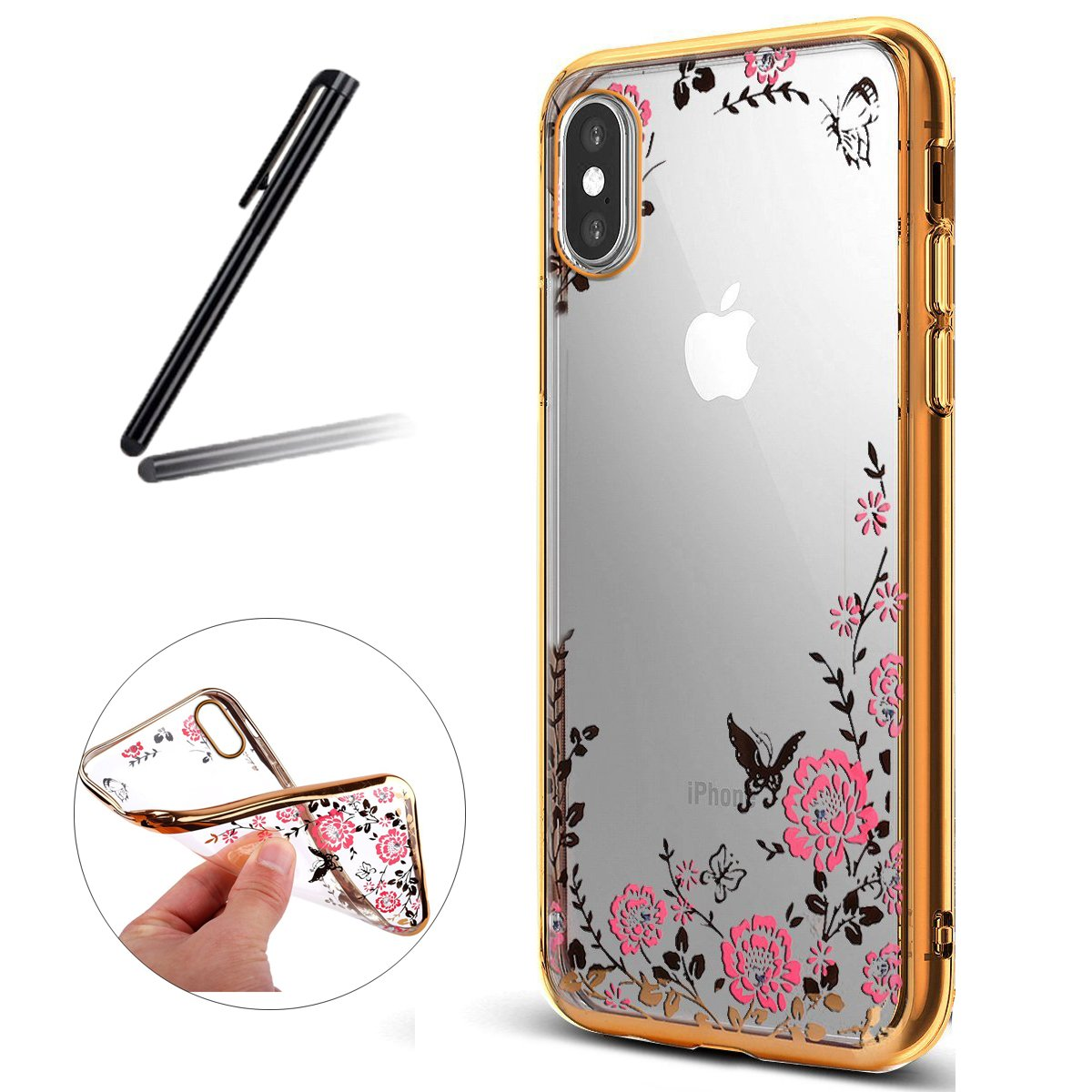 iPhone X Case, iPhone 10 Case, iPhone X Cover, SKYMARS Electroplating Butterfly Flower Bling Glitter Diamond Clear TPU Back Transparent Soft Flexible Silicone Bumper Protective Case For iPhone 10 / iPhone X Gold