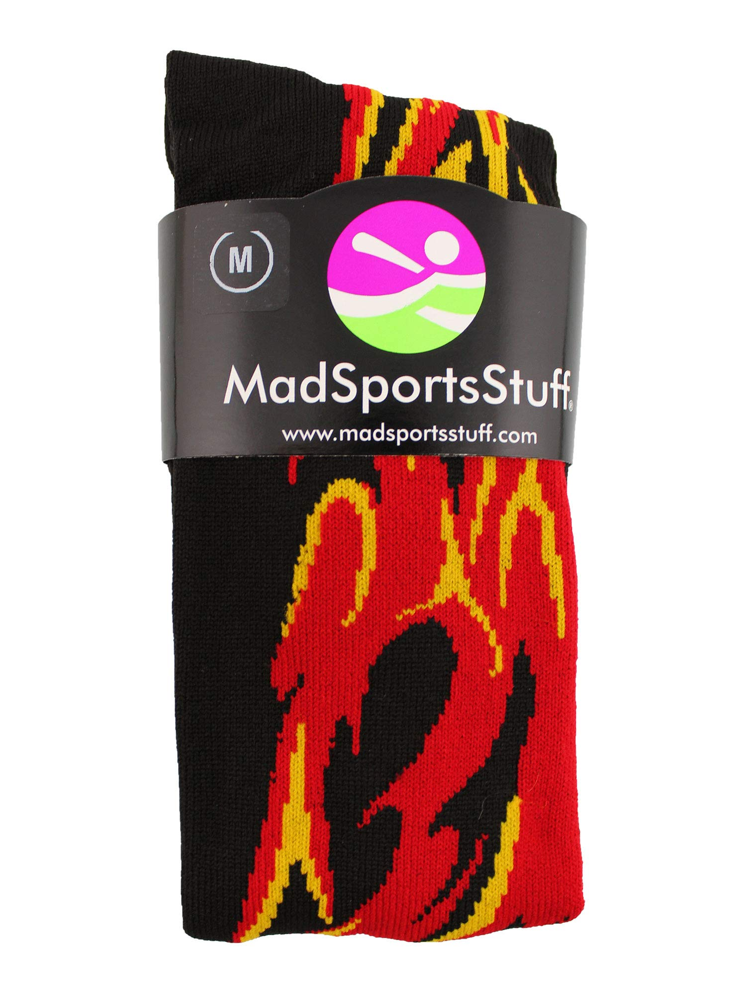 MadSportsStuff Flame Socks Athletic Over The Calf Socks (Black/Red/Gold, Small) by MadSportsStuff (Image #2)