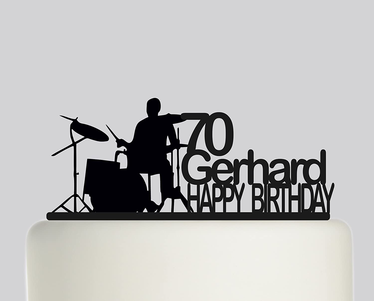 Birthday Cake topper Personalised Drum Drummer Drumming Happy Birthday YOUR NAME And AGE. Ideal birthday cake decoration, birthday party Acrylic cake topper, Available in Gold Mirror, Gold Sparkle, Silver Mirror, Silver Sparkle, Bronze Mirror, Black,Blue,