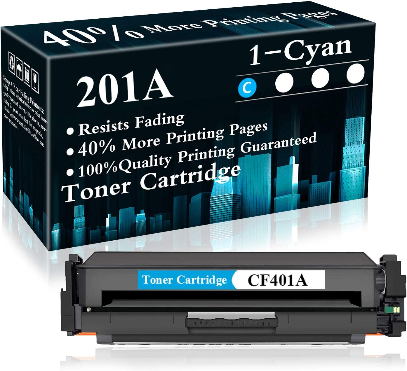 CF401A Toner Cartridge Replacement for HP Color Laserjet Pro MFP M277dw MFP M277n MFP M277c6 M252dw M252n M277 M252 Printer,Sold by TopInk 1 Pack 201A