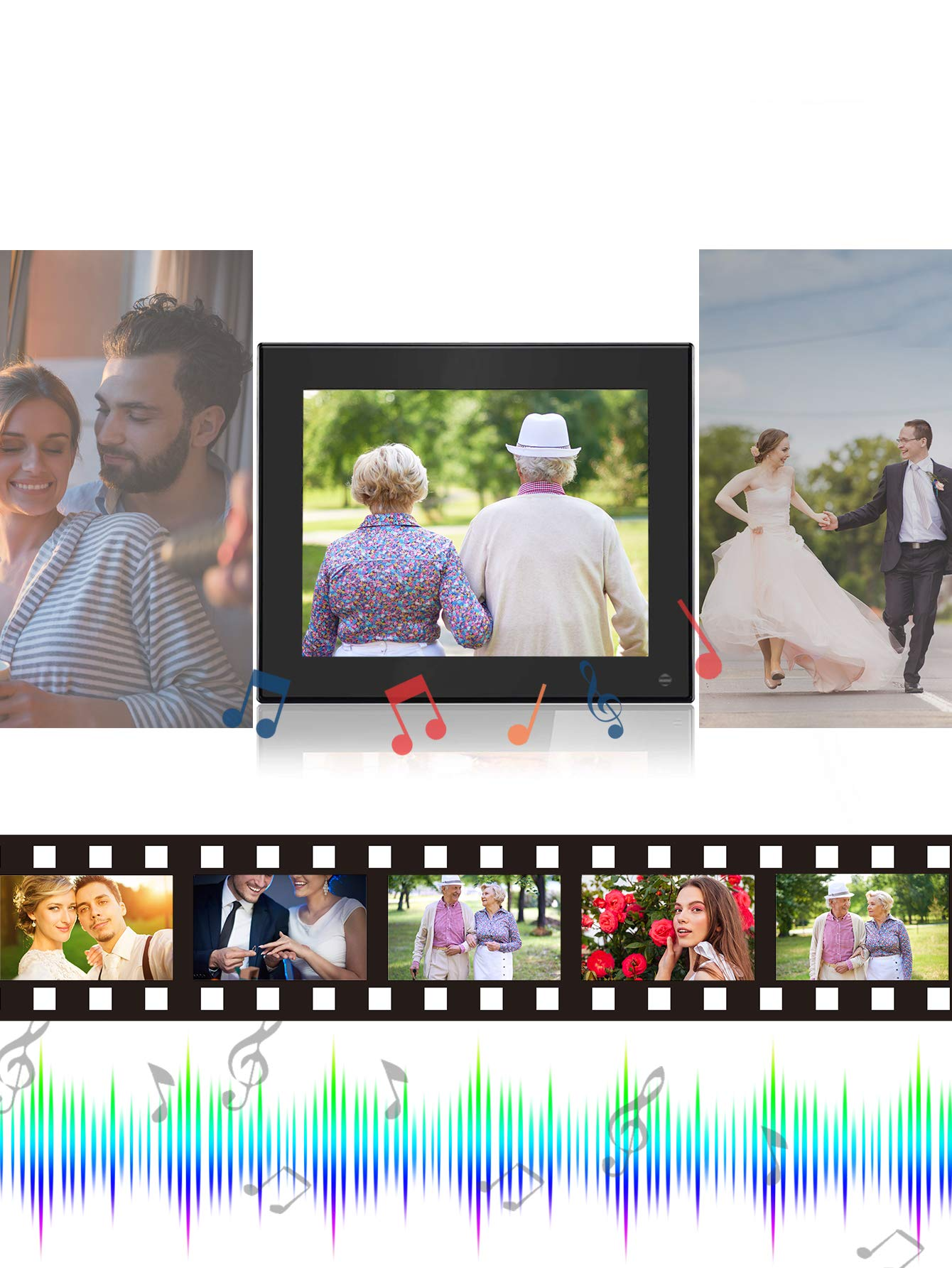 BSIMB Digital Photo Frame Digital Picture Frame 8 Inch 1024×768 Resolution Display with Calendar,Music,Video and USB,SD Card and Remote Control(M03 Black) by Bsimb (Image #5)