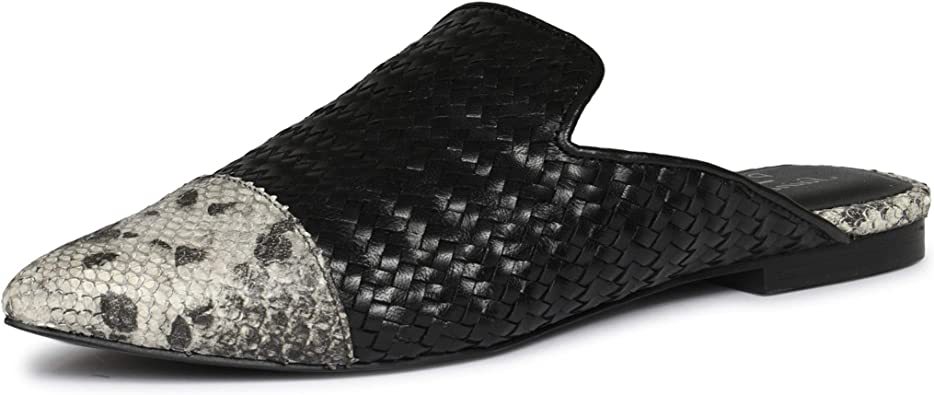 Black Woven Design Leather Flat Mules