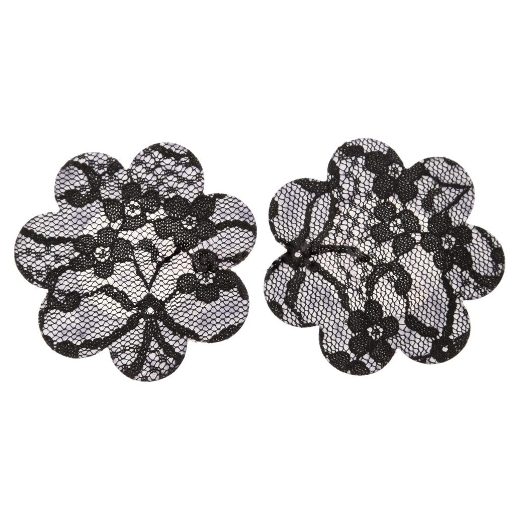 Cicilli Women's Flower Shaped Invisible Nipple Cover - Five Pairs, Black, 7 cm Diamètre - 7 cm
