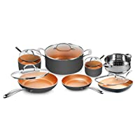 Gotham Steel Pots and Pans Set 12 Piece Cookware Set with Ultra Nonstick Ceramic Coating by Chef Daniel Green, 100% PFOA Free, Stay Cool Handles, Metal Utensil & Dishwasher Safe - 2020 Edition