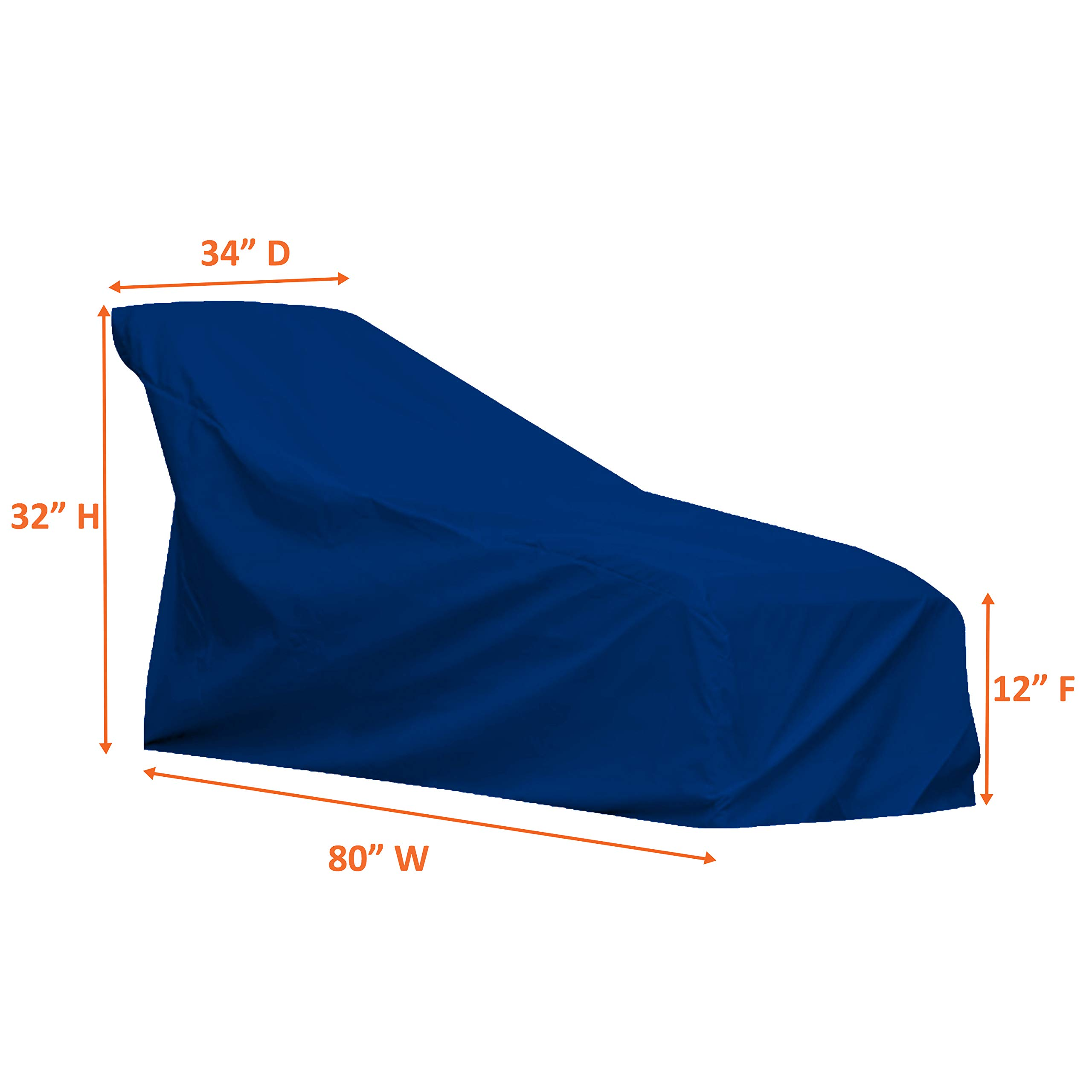 COVERS & ALL Chaise Lounge Cover 18 Oz Waterproof - 100% UV & Weather Resistant Outdoor Chaise Cover PVC Coated with Air Pockets and Drawstring for Snug Fit (80W x 34D x 32H, Blue) by COVERS & ALL (Image #2)