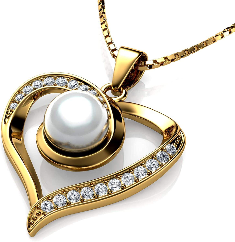 DEPHINI - Collar de perlas de oro de 18 quilates para mujer, colgante de corazón amarillo, cristales de circonita cúbica, joyería fina