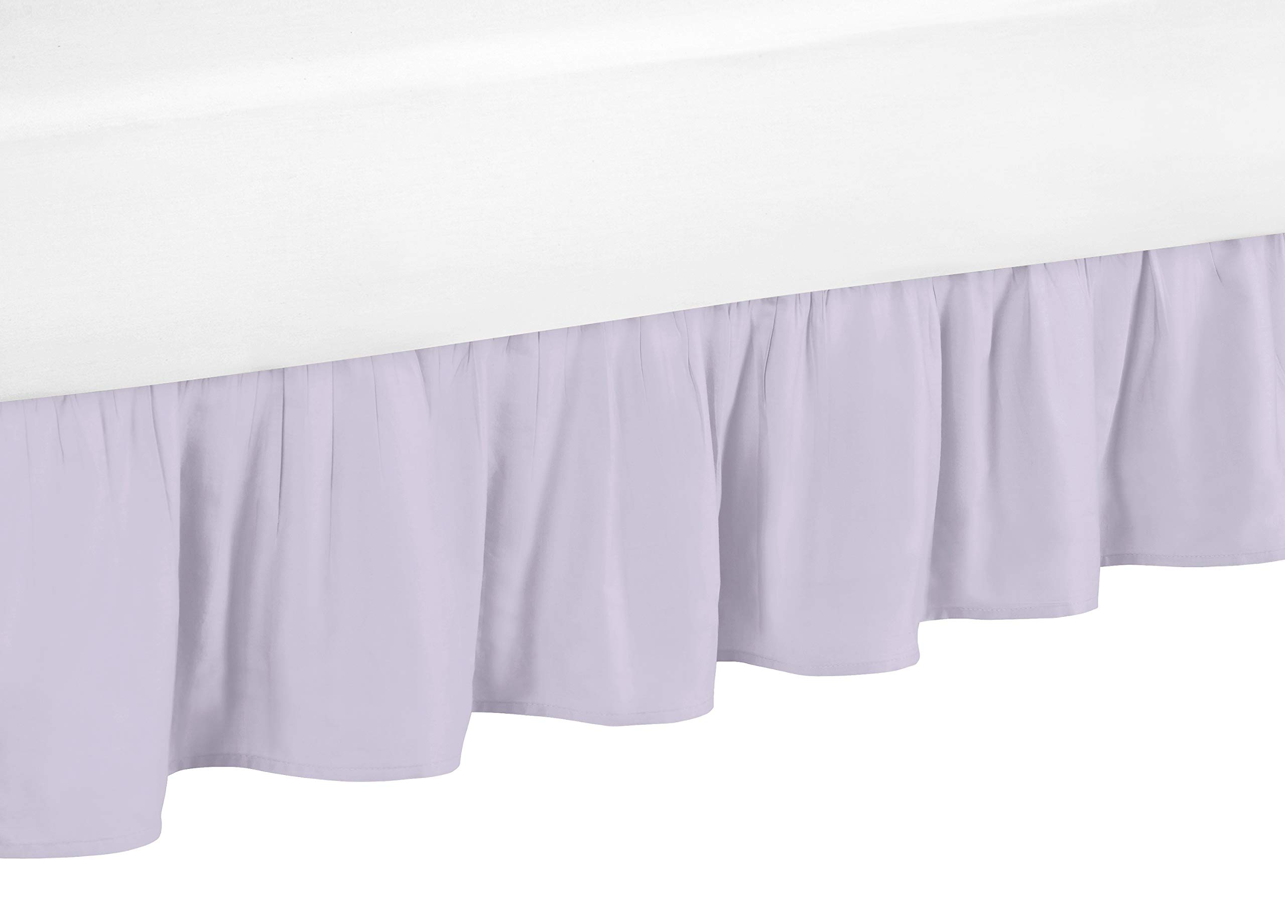 Sweet Jojo Designs Lavender Purple Ruffled Toddler Bed Skirt Dust Ruffle for Watercolor Floral Collection by Sweet Jojo Designs