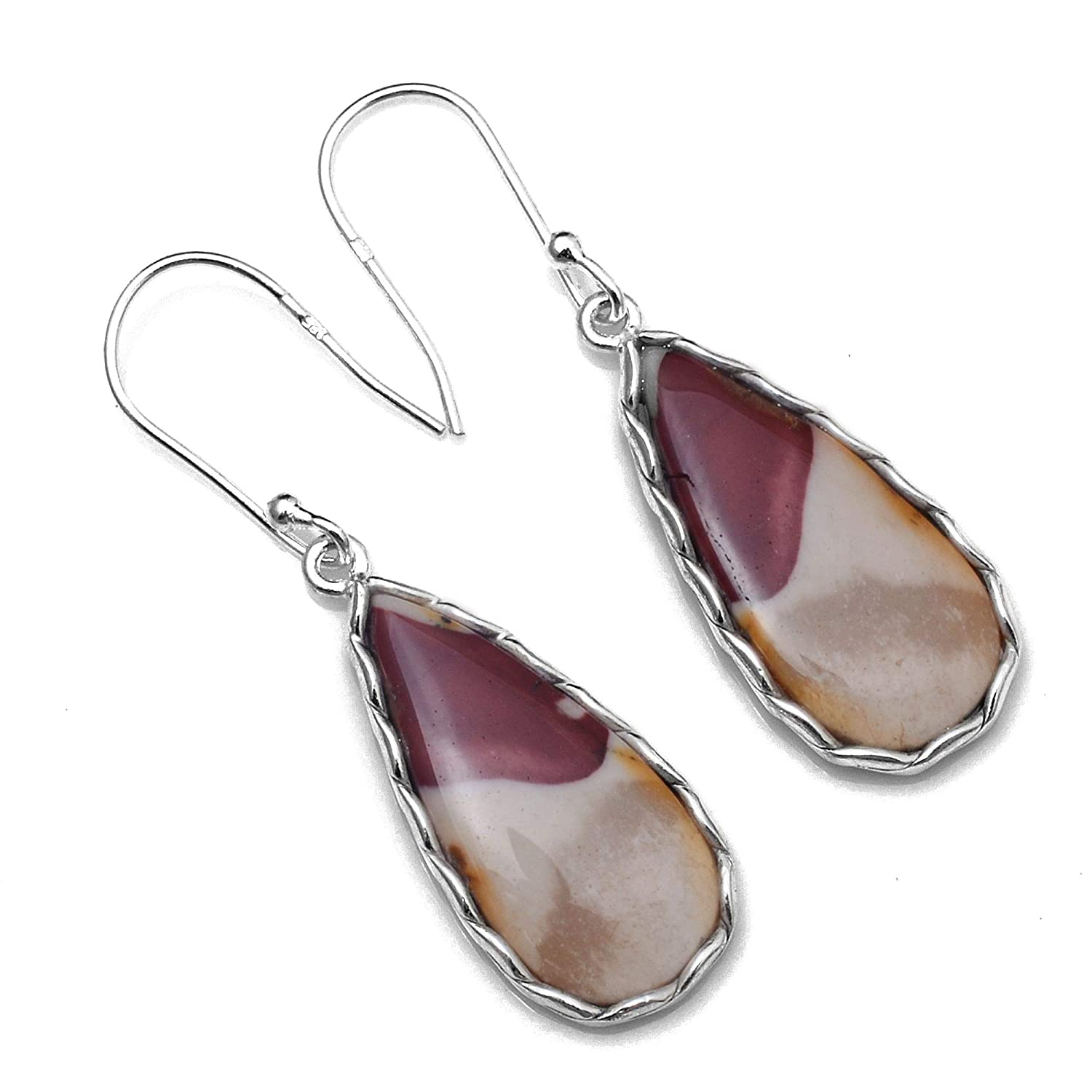 Silver Palace Sterling Silver Handmade Mookite Jasper Earrings for Womens and Girls