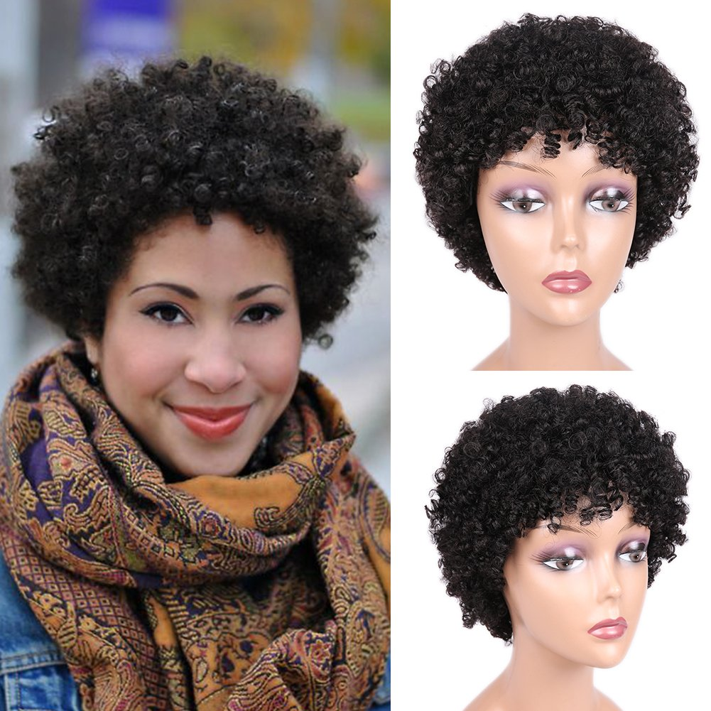 Amazon Com Short Afro Wig Brazilian Virgin Human Hair Wigs Natrual Black Afro Kinky Curly Wigs For Black Women Natural Looking 6 5 Inches Beauty