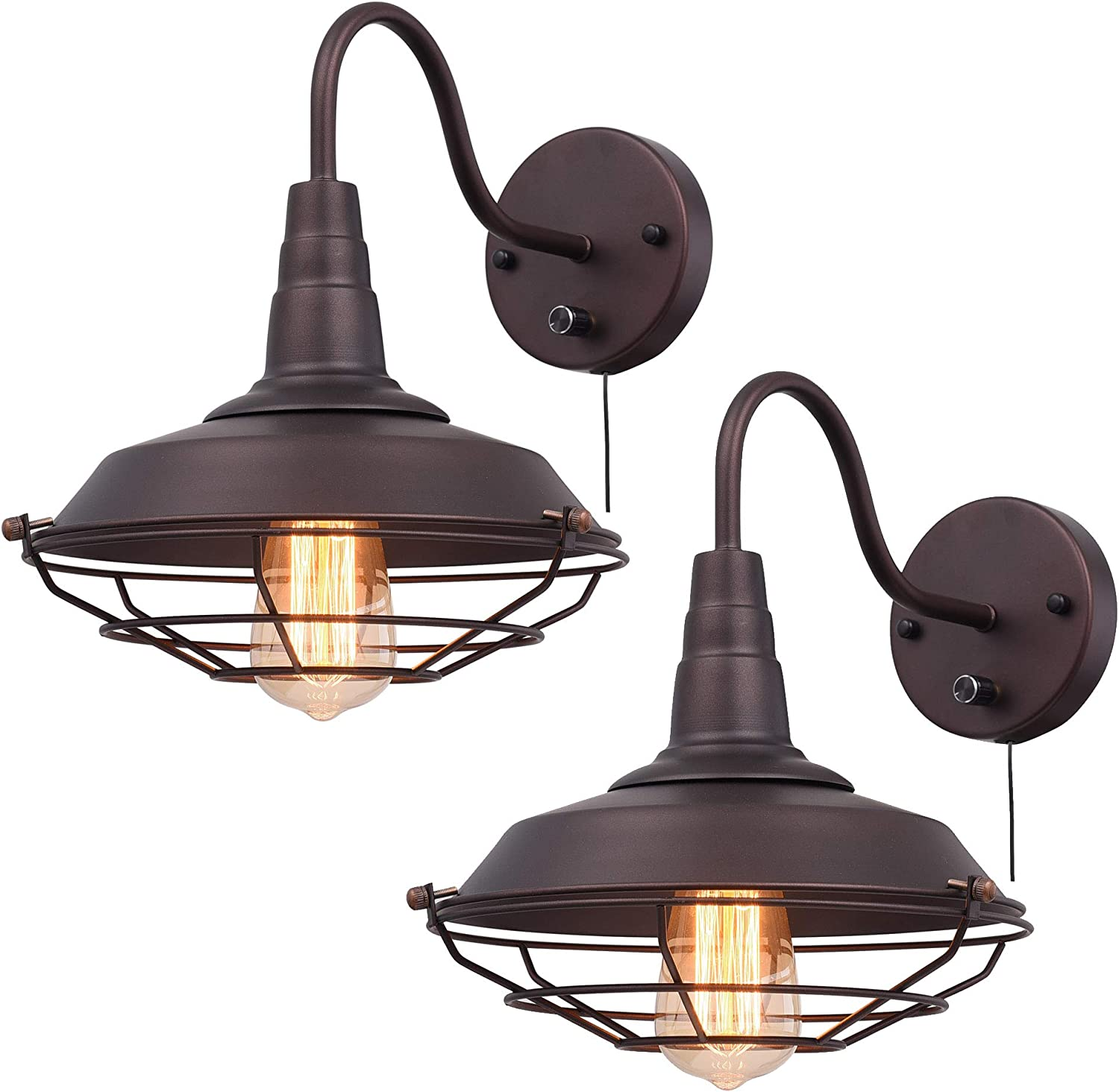 Ivalue Wall Lamps Set Of 2 Gooseneck Cage Barn Sconce Wall Lighting With Plug For Restaurant Kitchen