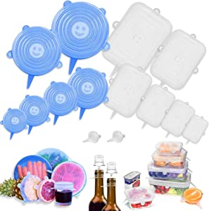 Farielyn-X 14 Pack Silicone Stretch Lids rectangular & Round, Reusable Durable and Expandable Lids to Keep Food Fresh Fit Various Sizes and Shapes of Containers Food Covers or Bowl Covers