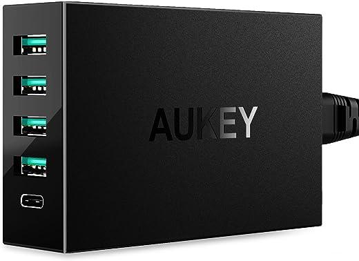 AUKEY USB C Caricabatterie da Muro 54W, 1 Porta di Type C e 4 Porte con Tecnologia AiPower, per Smartphone e Tablet come LG, Nexus, iPhone, iPad, Samsung Galaxy ecc., un Cavo USB C a C di 1M in Confezione (Nero)