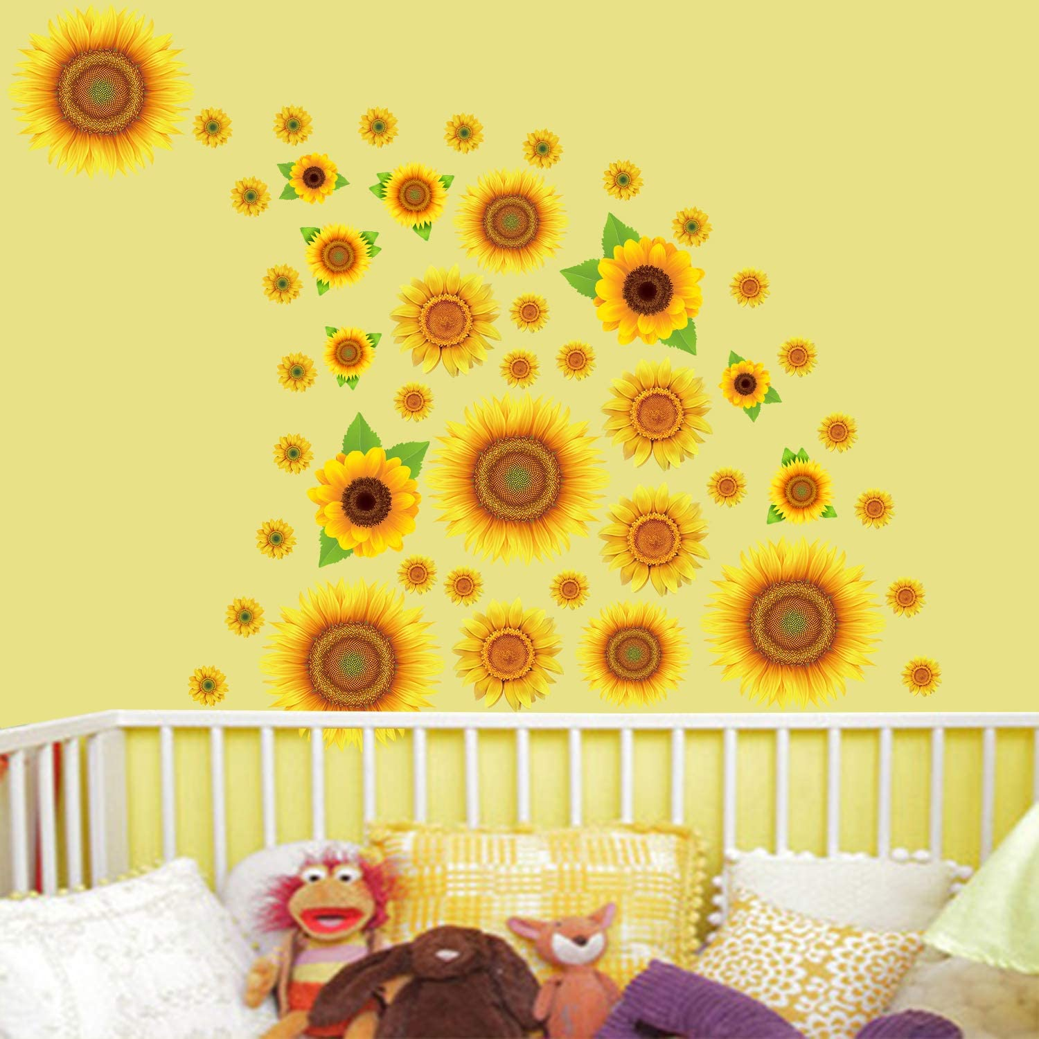 Sunflowers Wall Sticker Yellow Flowers Wall Decals Floral Removable Wall Stickers Wall Decal for Kids Nursery Bedroom 45Pcs
