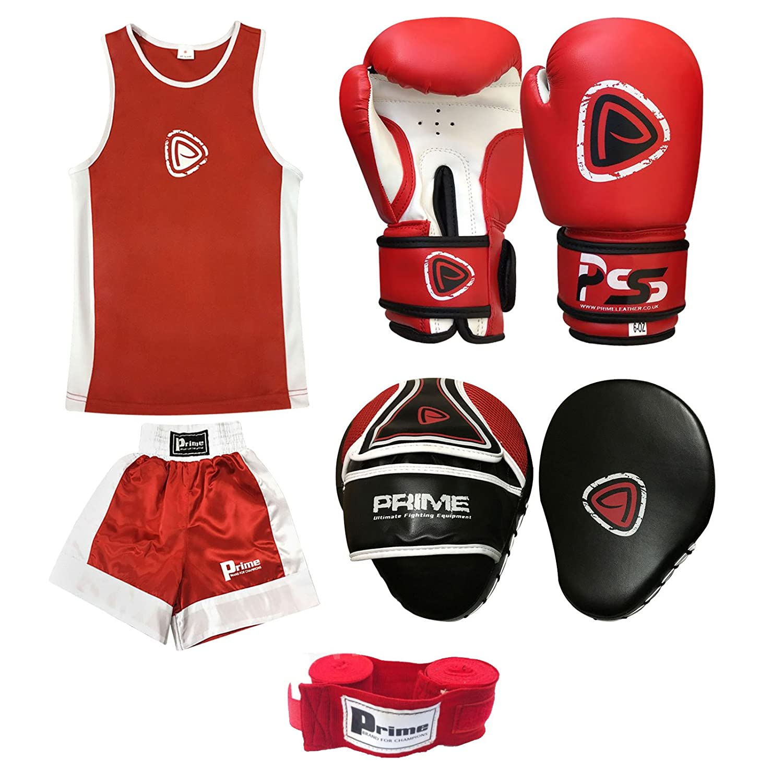 PRIME Tenue Boxe Enfant Ensemble Haut et Bas + Gants de Boxe 6 oz Rouge et Blanc (1008) avec Cible Mousse Noir et Rouge 1101 PRIME SPORTS