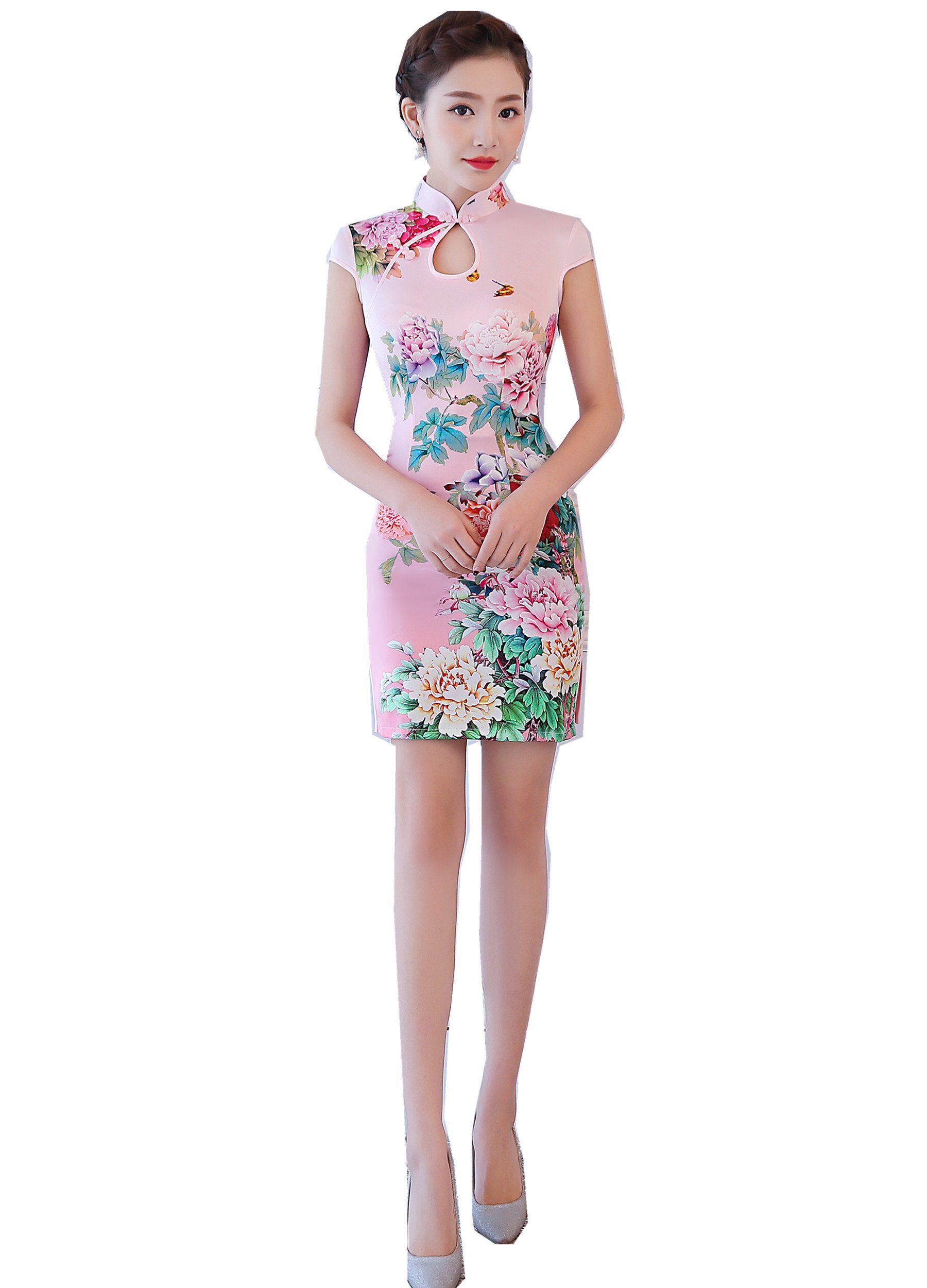 Shanghai Story Chinese Dress Short Sleeve Short Cheongsam Faux Silk Qipao Pink L