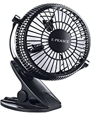 """E-PRANCE Mini Clip Desk Fan,5"""" Portable 2-Mode Speed Clip On & Stand Desk Table Shelf Plastic Fan, USB Powered by Computer/Power Bank/USB Charger Power Adapter,360 Adjustable Silent Cooling Cooler"""