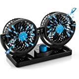 FiveJoy 360 Degree Rotatable Car Fan - 12V DC Electric 2 Speed Dual Head Fans, Quiet Strong Dashboard Cooling Air…