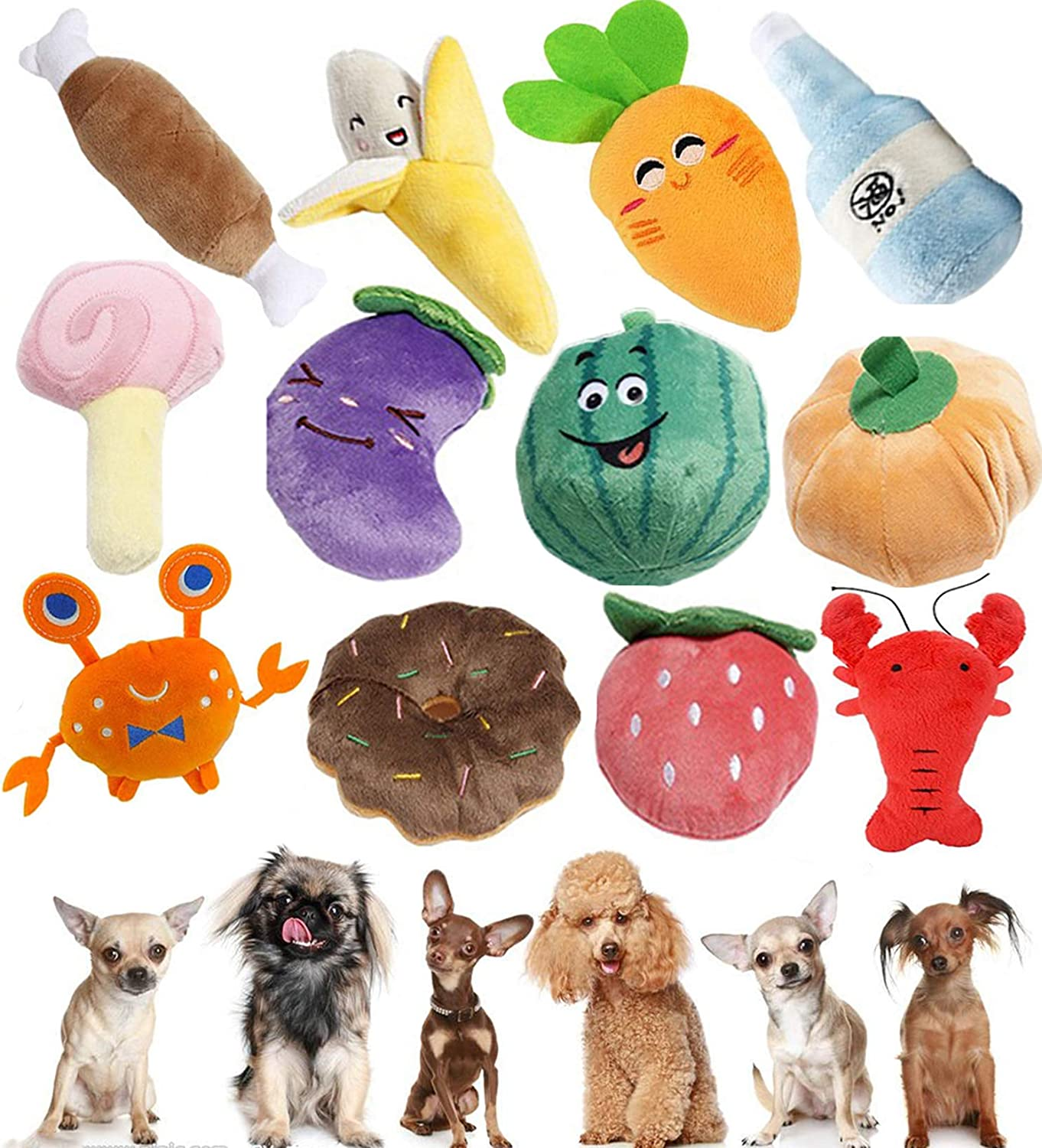Puppy Squeaky Plush Dog Toy,Stuffed Dog Chew Toys,Dog Toys Bulk with Squeakers