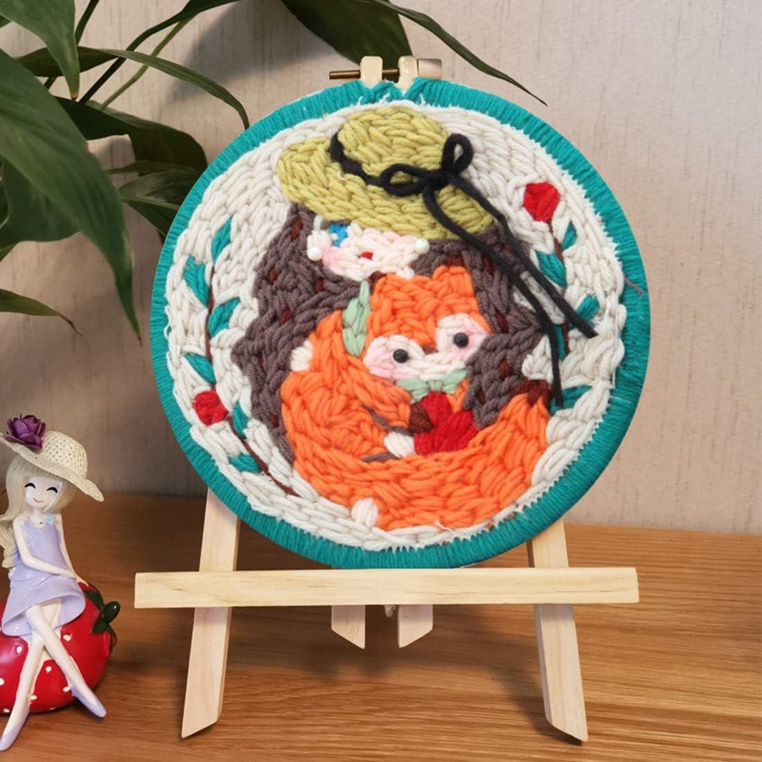 Latch Hook Craft Kits for Kids Adults Beginners Punch Needle Starter Kit with A-Frame Yamix DIY Knitting Wool Rug Hooking Kit Romantic Season
