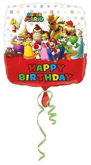 Amscan – 3200901 Super Mario Bros feliz cumpleaños Foil Globos