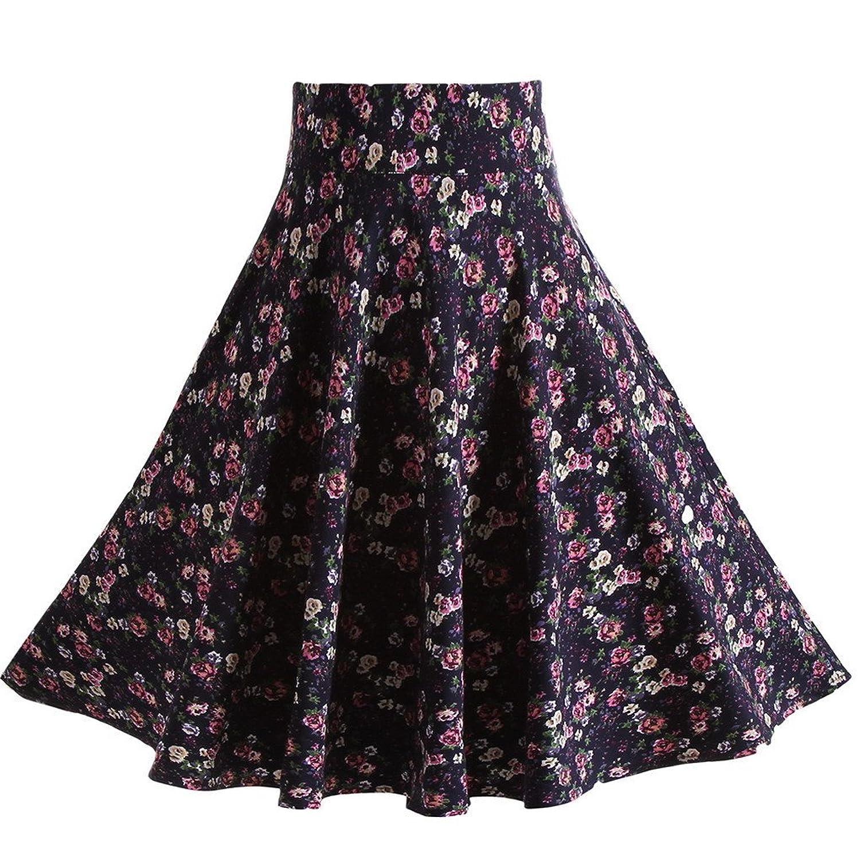 ACME Damen Retro Vintage Rockabilly 1950er Stil Faltenrock hohe A-linien Röcke Blumendruck Minikleider Vintage Damen Skirts Swing Rock EU 36-42