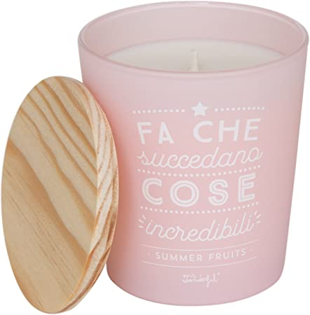 Mr.Wonderful Hace Que succedano Cosas incredibili Vela perfumada, Cristal, Color Rosa, 15 x 20 x 25 cm: Amazon.es: Hogar