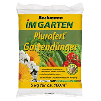 Beckmann Im Garten Gartendünger Mit Hornspänen, 5 Kg, Plus 1 Paar  Handschuhe Gratis