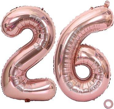 Amazon.com: Globos Juland con números de oro rosa, tamaño ...