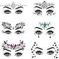 URAQT Face Gems Glitter, 6 stuks Strass Gezichtsjuwelen, Kristallen Gezichtsstickers voor Ogen, Zelfklevende Tijdelijke…