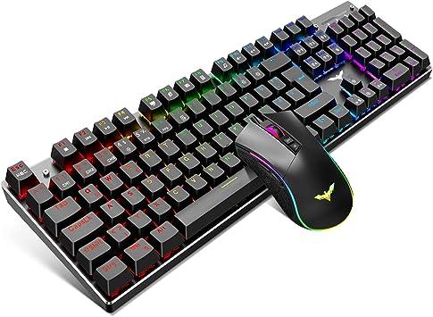 Juego de teclado y ratón mecánico de gaming de Hevvit QWERTZ LED teclado (disposición alemana) con superficie de aluminio, 4800 puntos por pulgada RGB ratón de gaming con 7 teclas: Amazon.es: Electrónica