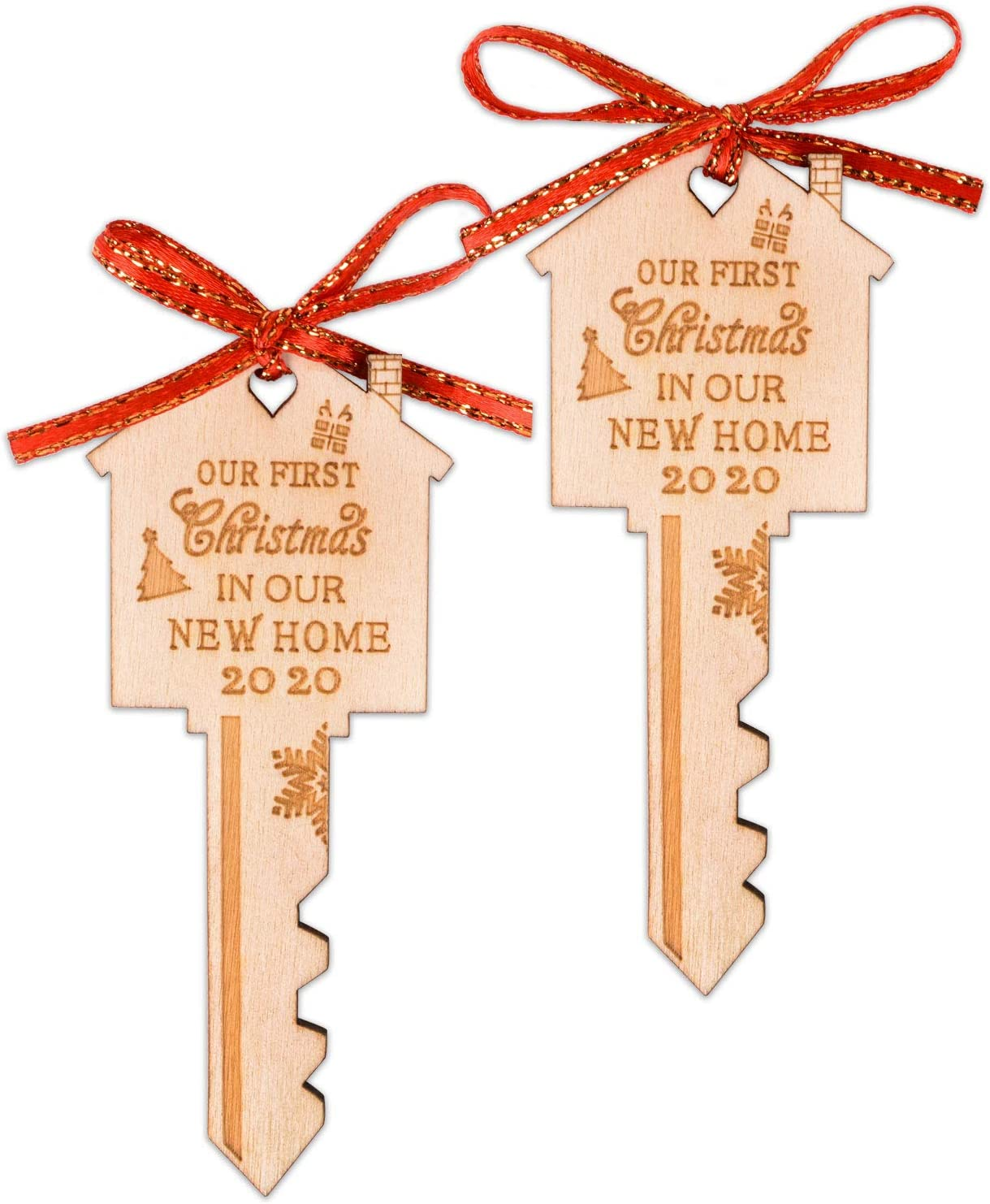 First Christmas in Our New Home Wooden Key Christmas Ornament 2020 for Housewarming, Xmas Tree and Holiday Decoration (2 Pack)