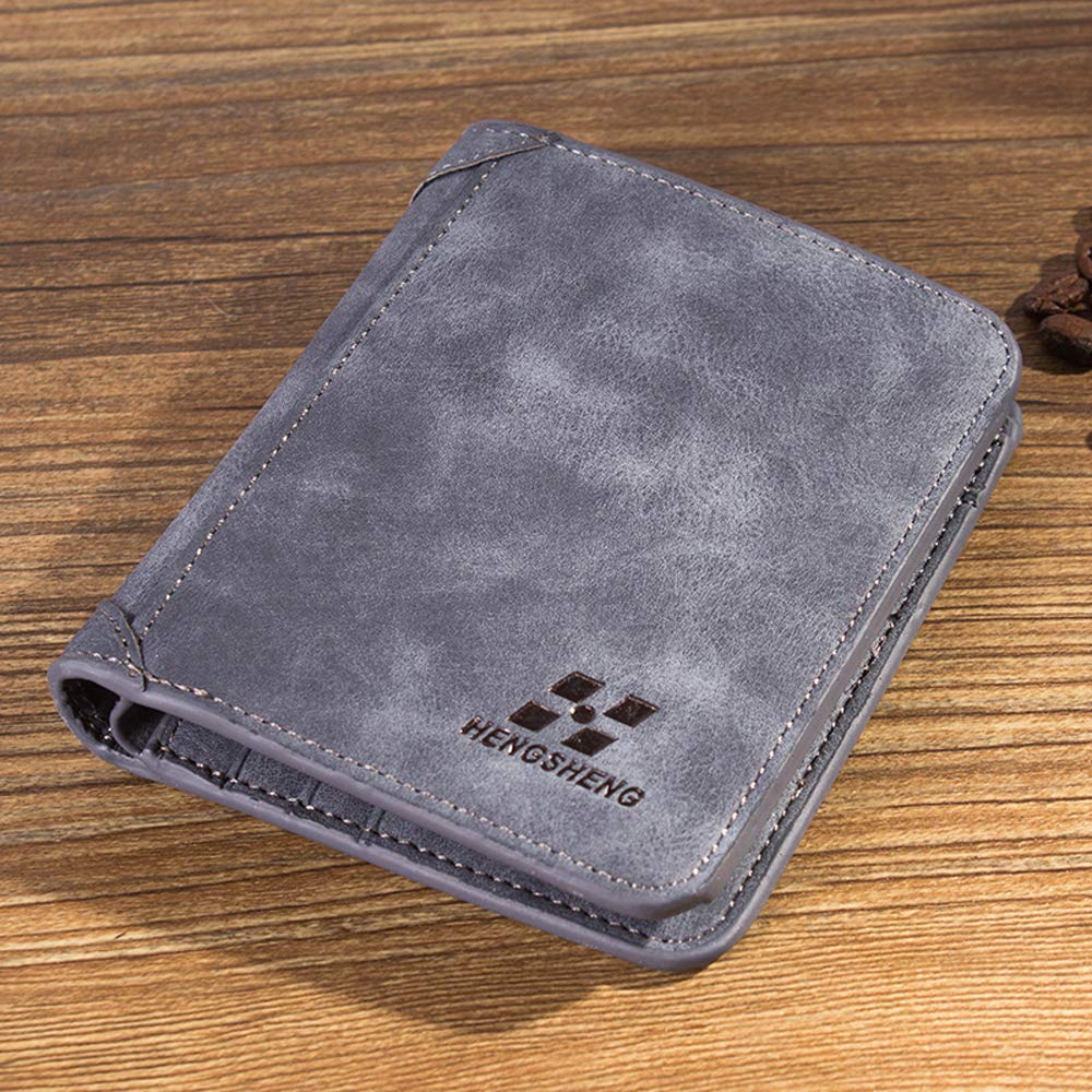 Walmeck Wallet Man Vintage Trifold PU Leather Credit Card Cash Holder Teenager Wallet