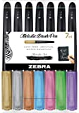 Zebra Pen Metallic Brush Pen, Meduim Point, Assorted Metallic Ink, 7-Count