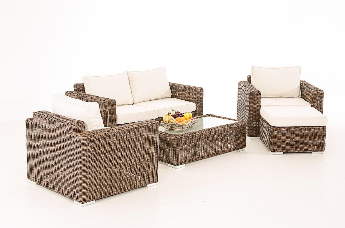 2-1-1 Gartengarnitur CP050 Sitzgruppe Lounge-Garnitur Poly-Rattan ~ Kissen cremeweiß, braun-meliert