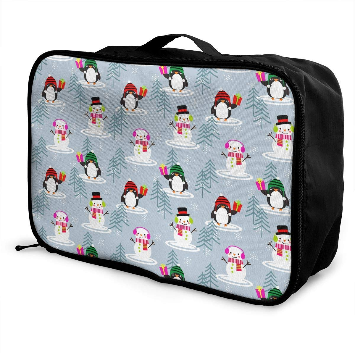 Cute Snowman And Penguins Pattern JTRVW Travel Luggage Trolley Bag Portable Lightweight Suitcases Duffle Tote Bag Handbag