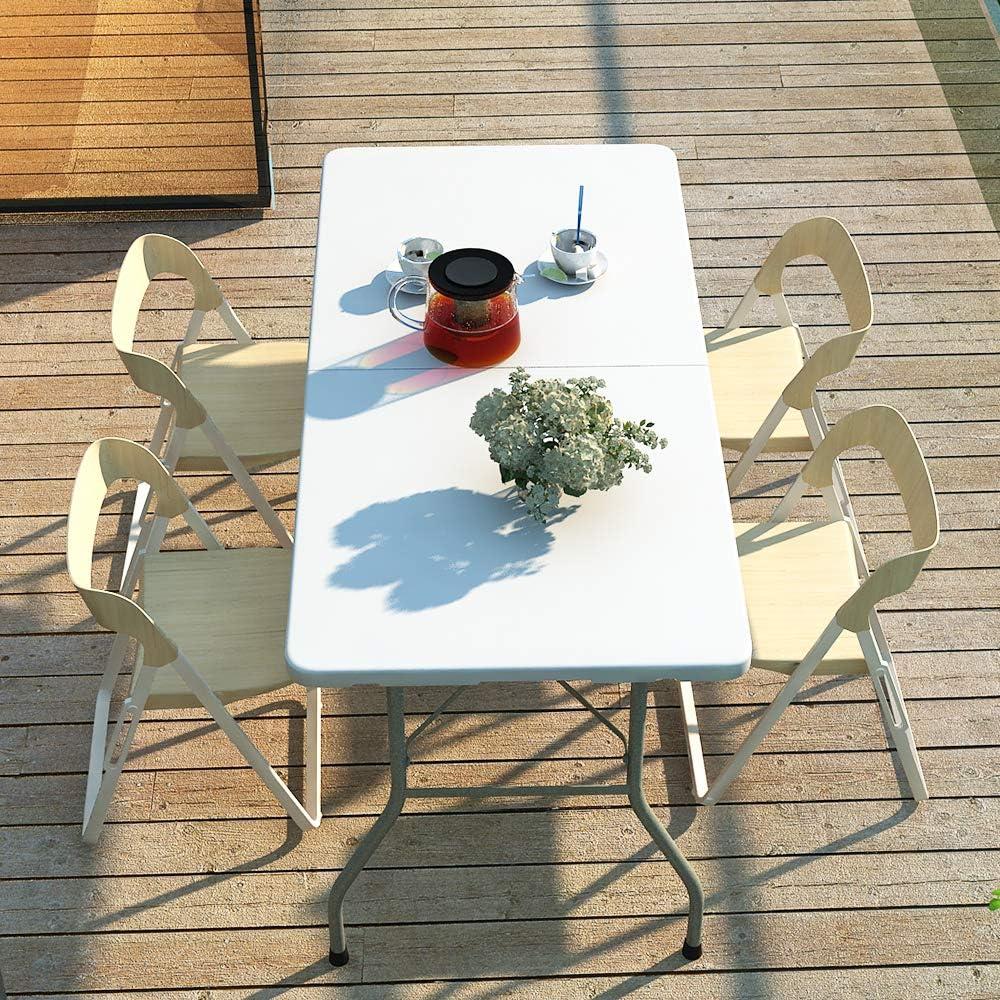 sogesfurniture Tavolo Pieghevole da Picnic da Giardino Bianco 152x71x74cm da Buffet HP-152CZ-BH da Cucina da Giardino Perfetto Come Tavolo da Campeggio Portatile con Maniglia