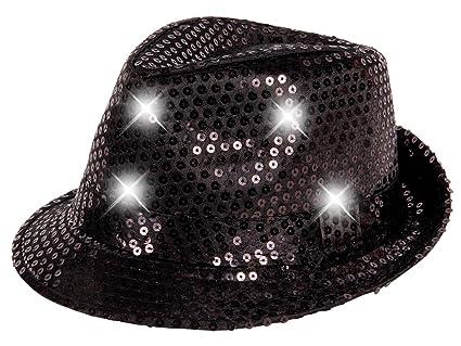 Alsino Cappello fedora borsalino con luci LED e paillette clubstyle  discoteca popstar jazz blues lifestyle accessorio 95e12a9e5ea4