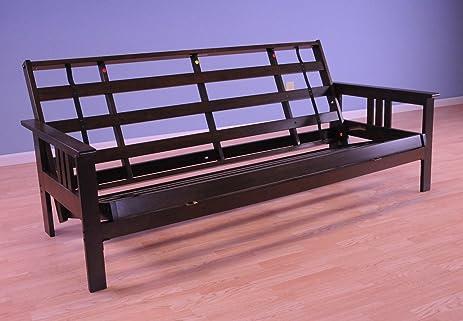 queen monterey wood futon frame   espresso amazon    queen monterey wood futon frame   espresso  kitchen      rh   amazon