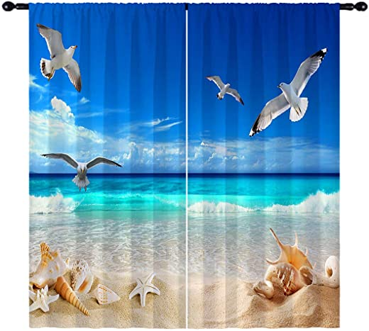 Cheap ANHOPE Beach Blackout Curtains window curtain panel for sale