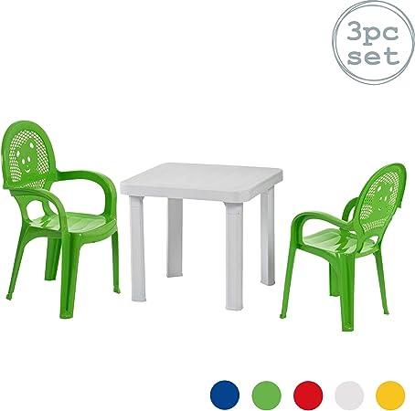 Set Tavolo E Sedie Da Giardino Plastica.Resol Set Da Giardino Con Tavolo Bianco E Sedie Verdi In