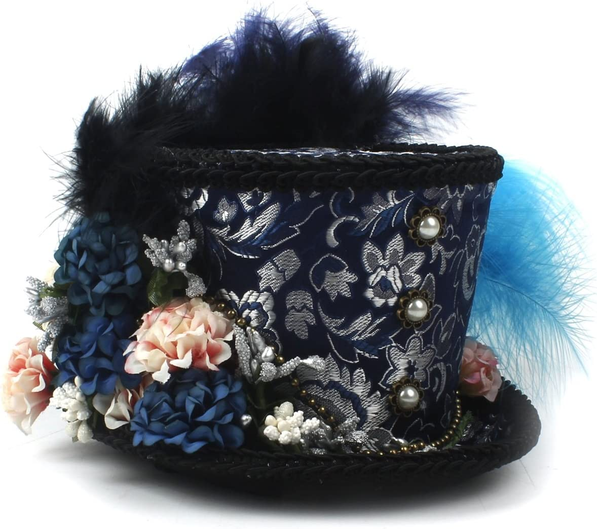 RZL Domo Sombreros, Mini Sombrero de Copa, Turquesa y Sombrero Púrpura, Kentucky Derby Rainbow Hat, Royal Ascot, Sombrero de Carrera de Caballos, Sombrero de Paisley Tea Party, Sombrero de Sombrerero