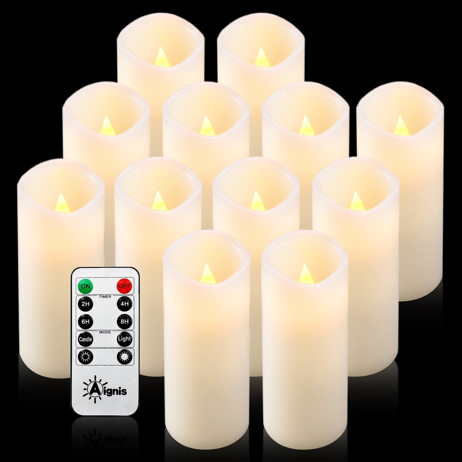 Aignis Flameless Candles, Battery Candles Set of 12(D2.2 x H6) Real Wax Led Candles with 10-key Remote Timer By (Ivory)