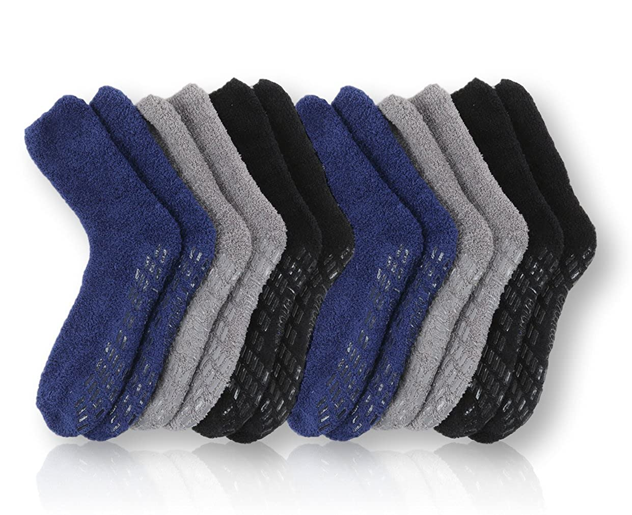 Pembrook Non Skid/Slip Socks – Hospital Socks - Fuzzy Slipper Gripper Socks men 104900A002