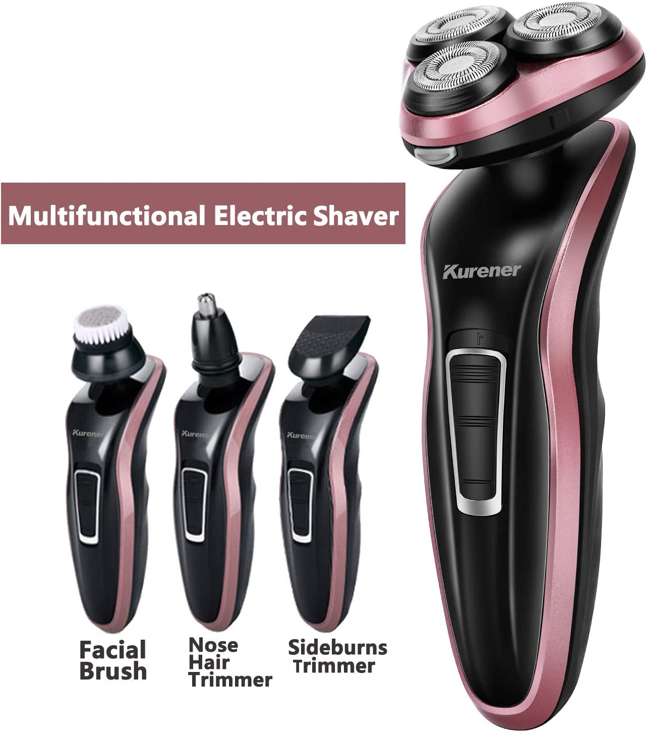 4 in 1 Mens Electric Razor with Sideburns Trimmer, Facial Cleaning Brush & Nose Trimmer
