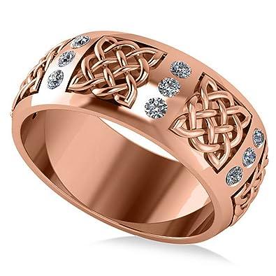 14k Gold Celtic Diamond Wedding Ring Band (0.24ct)|Amazon.com